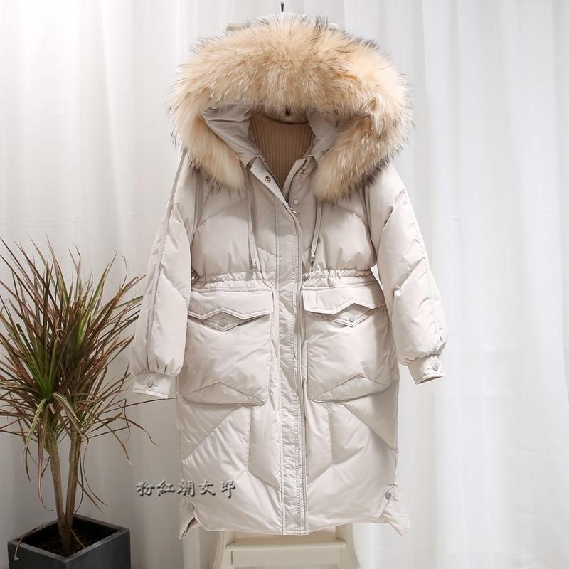 2020 Down Jacket Woman Hooded Long Winter Coat Women Big Raccoon Fur Collar Korean Warm Overcoat Women's Jackets KJ2551
