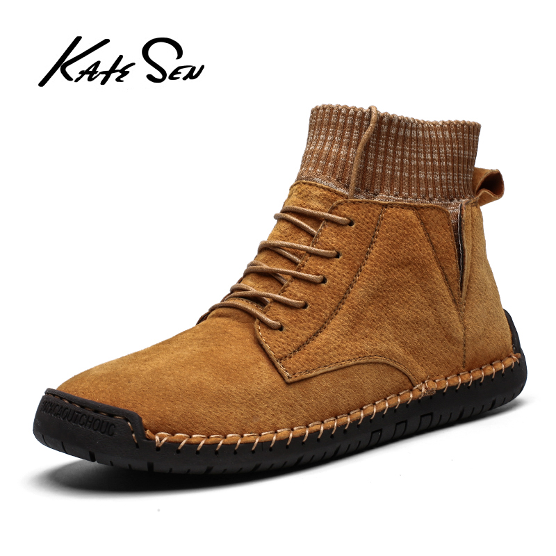 KATESEN Men Boots Winter Warm Leather Snow Boots Male Outdoor Work Boots Men's Footwear Fashion Rubber Ankle Boots Size 38-48