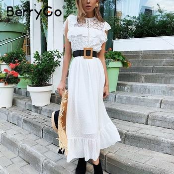 BerrgGo Lace splicing white long women dress Summer 2020 elegant straight office lady dress Sleeveless round neck dress casual