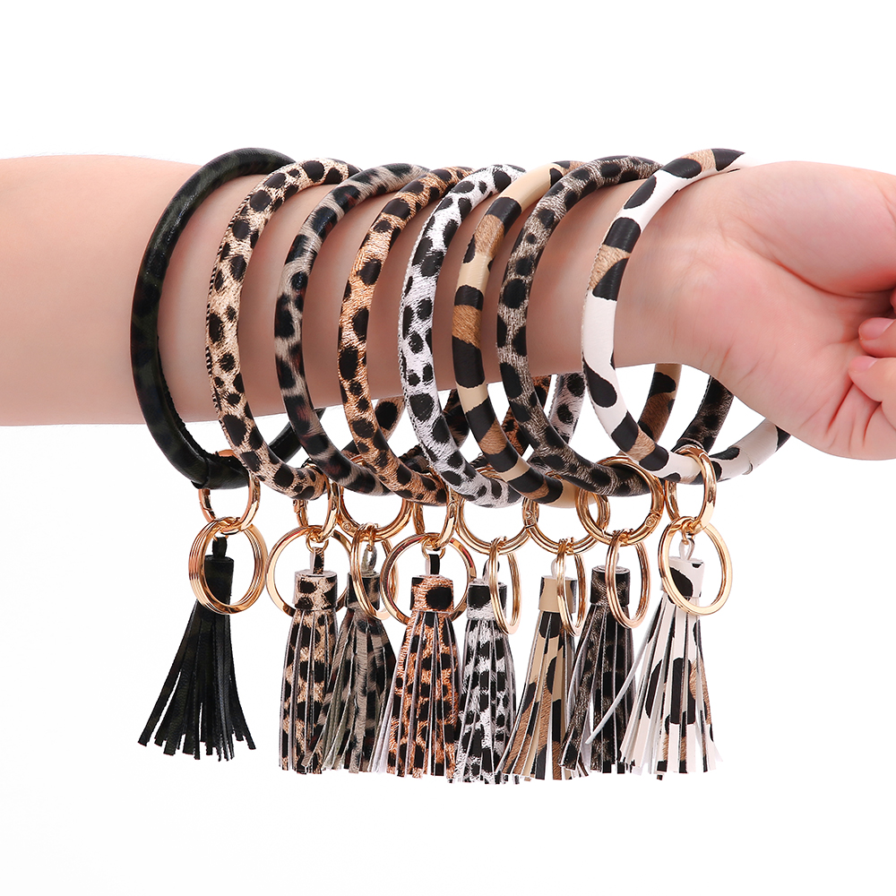 Fashion Leopard Wristlet Keychain For Women Girls Pu Leather O Keyring Large Round Key Ring Keychains Drop Shiipping
