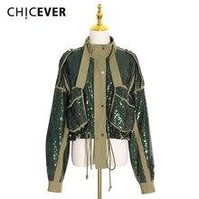 Color Jacket Women's Coats Lace-Up Patchwork Long-Sleeve CHICEVER Turtleneck Hit Sequins