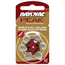 Hearing Aid Batteries 6 PCS / 1card RAYOVAC PEAK-A312/312/PR41 Zinc Air batterie 1.45V  Size 312 Diameter 7.9mm Thickness 3.6mm
