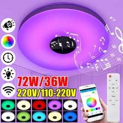 Moderne RGB musique Led plafonnier 36W 72W APP bluetooth musique lumière maison chambre Dimmable Smart plafonnier + télécommande