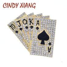 CINDY XIANG – broche de Poker en strass, Design créatif, bijoux pour femmes et hommes, mode, broches et broches de haute qualité, 2 couleurs, nouveau 2021