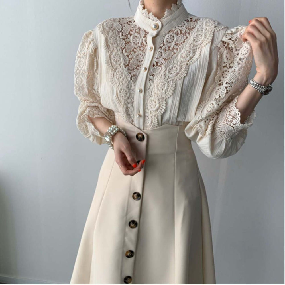 H740346a6ad8c4826a9ff9c97399b2c2eM - Spring / Autumn Stand Collar Long Sleeves Hollow Out Lace Blouse
