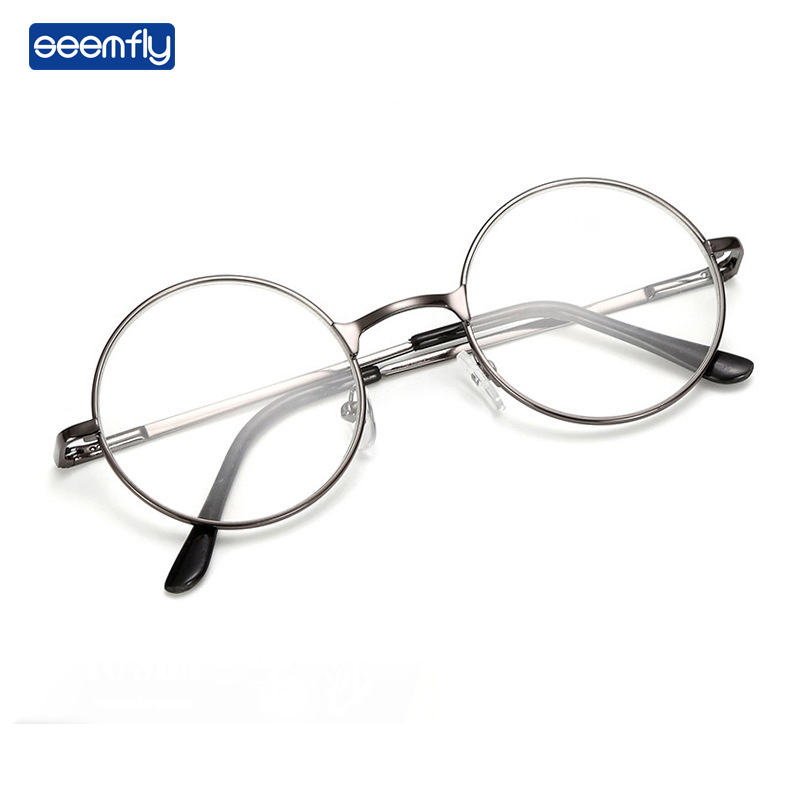 Seemfly Metal Myopia Glasses Retro Round Spectacle Frame Unisex Clear Lenses Reading Eyeglass -1.0 -1.5 -2.0 -2.5 -3.0 -3.5
