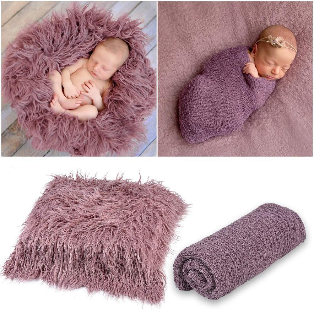 Newborn Baby Prop Infant Photography Photo Backdrop Blanket Swaddle Wrap Set