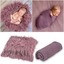 Photography-Props Newborn Backdrop-Blanket Swaddling Cotton Wraps Stretchable 2pcs/Set
