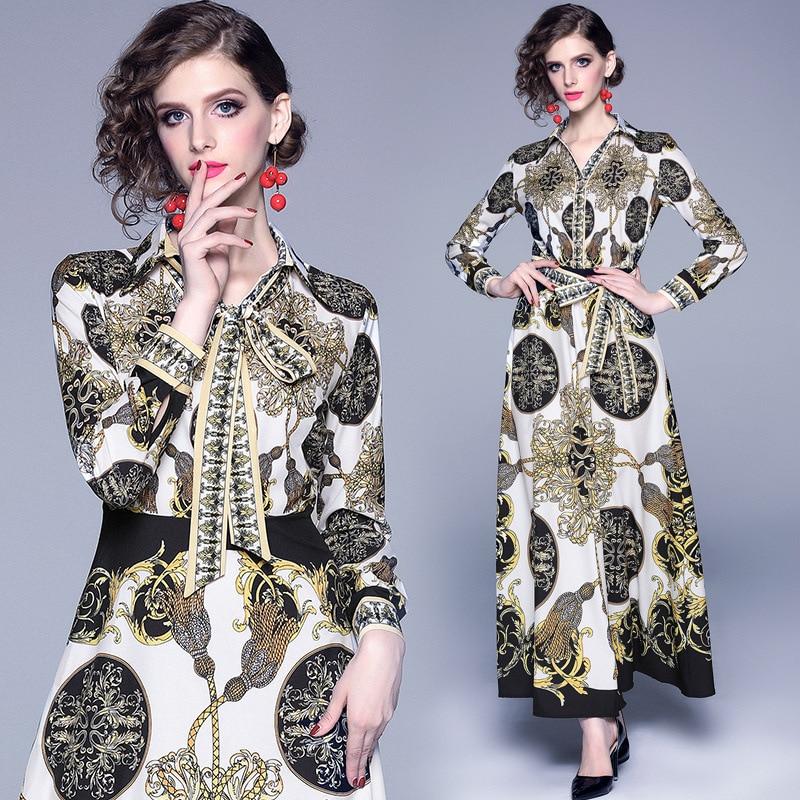 37172019 Europe And America Autumn New Style V-neck Palace Retro Printed Big Hemline Long-sleeved Dress