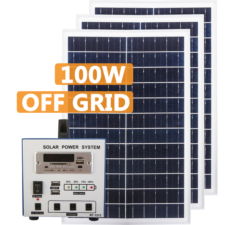 High Efficiency Solar Power System Home 100w Sufficient Supply
