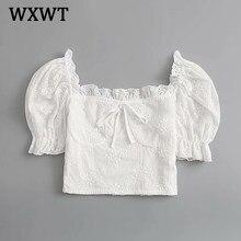 Wxwtファッション女性ホワイトレースの木の耳サイドシャツトップス半袖スクエア襟固体女性の夏シックなショートブラウスSDP9386