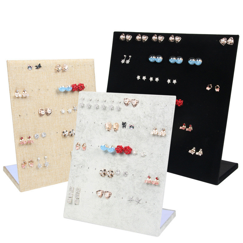 Flannel Jewelry Box Jewelry Display Earrings Stud Necklace Pendant Storage Showcase Rack Case Board Gift