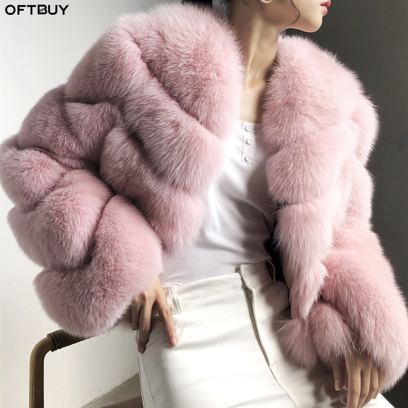 OFTBUY 2019 Real Fur Coat Clothes Luxury Winter Jacket Women Natural Fox Fur Thick Warm Streetwear Ladies Casual Outerwear New