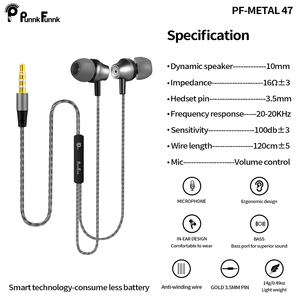 Image 4 - PunnkFunnk Metal Deep Bass Stereo headsets sport Earphones W/Mic Volume Control for iphone 6 7 8 x samsung s10 s9 s8 s7 note9 j3