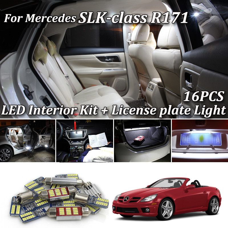 16x LED Parking city bulb interior light lamp Kit For <font><b>Mercedes</b></font> <font><b>Benz</b></font> <font><b>SLK</b></font> class R171 <font><b>SLK200</b></font> SLK280 SLK300 SLK350 SLK55 AMG (04-10) image