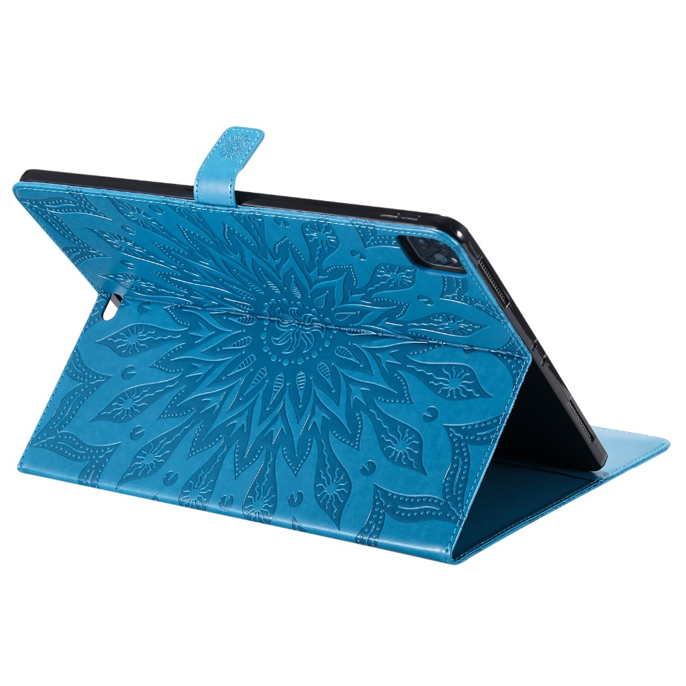 3D Embossed iPad Leather Cover Skin Flower Pro 12 for Shell 9 2020 Protective Case