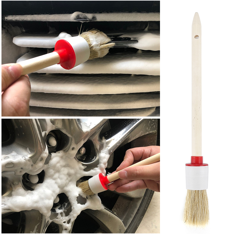 1Pcs Soft Car SUV Detailing Wheel Wood Handle Brushes For Cleaning Dash Trim Seats Handy Washable Car Cleaning Tool