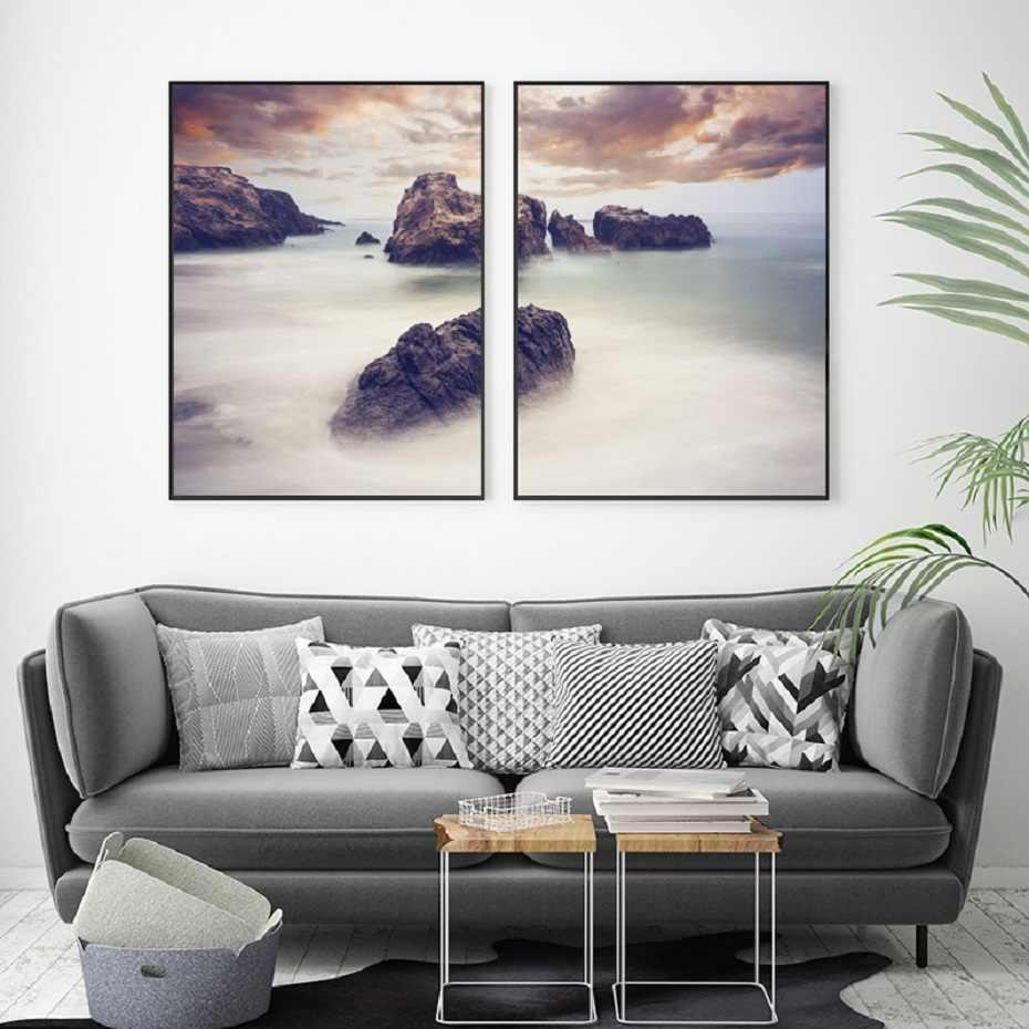 北欧ミニマル平和海辺海面ポスターやプリント風景ウォールアートストーンピクチャーズリビングルームの家の装飾