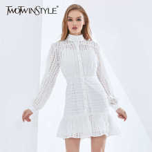 TWOTWINSTYLE Elegant Solid Color Hollow Out Summer Dress For Women Long Sleeve High Waist Dresses Female Womens Clothing 2021