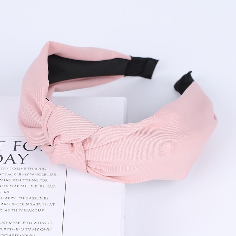 Couleur unie noeud bandeaux pour femmes Simple tissu filles bandeau femmes cheveux accessoires large côté bandeau 45