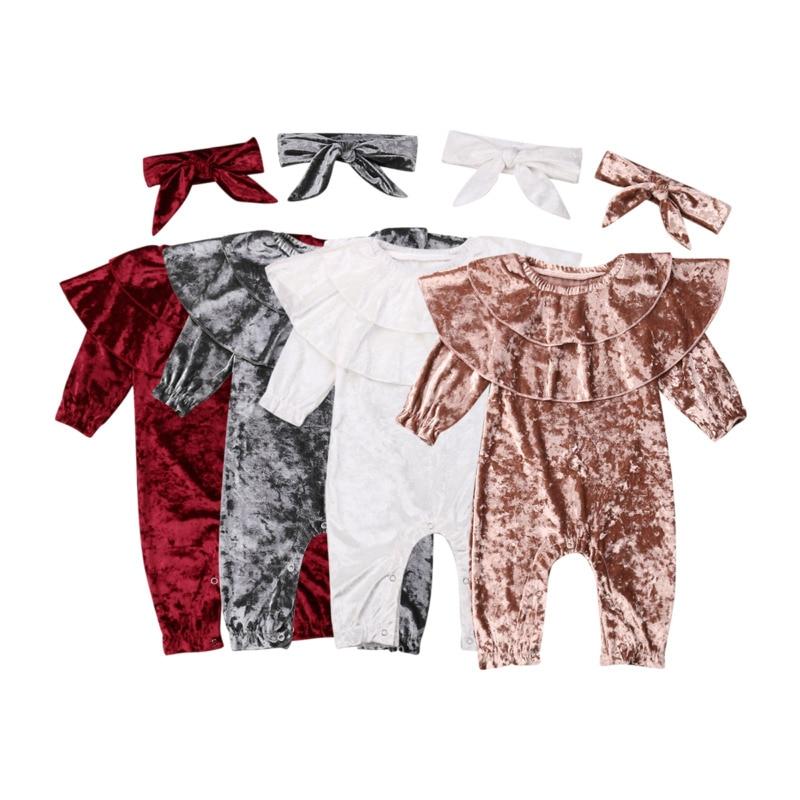 0.24M Infant Baby Kids Boys Girls   Romper   Long Sleeve Velvet Jumpsuit +Headband Outfit 2PCS Set