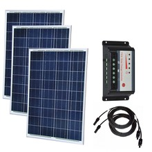 Solar Set 300w Solar Panel 100w 18v 3 Pcs  Solar Charger Battery 12v  Solar Charge Controller Regulator 12v/24v 30A PV Cable LED