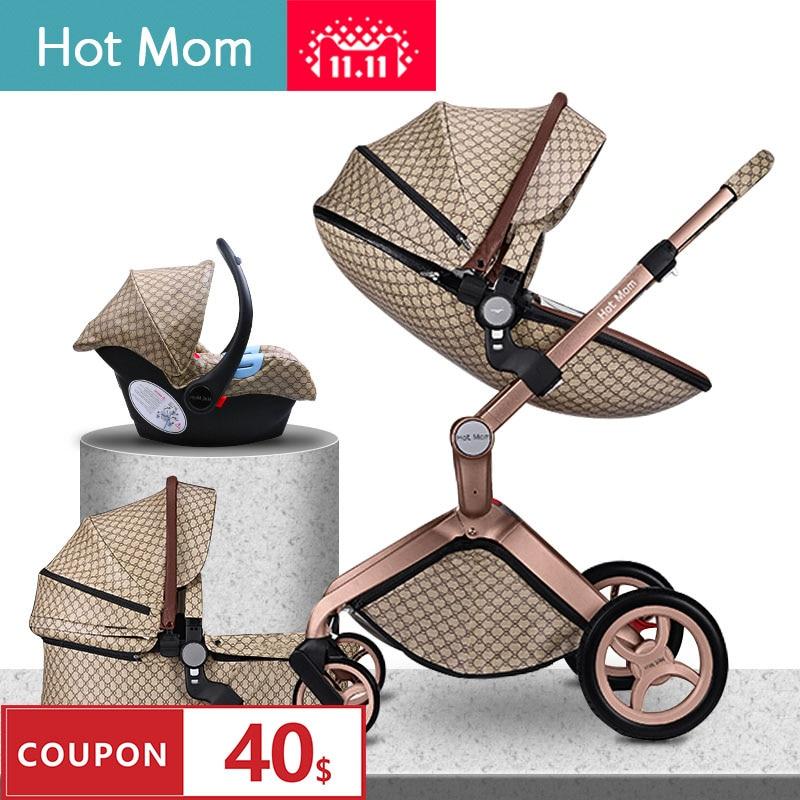 100usd Coupon! 2019 Original Hot Mom Car High Landscape Luxury 3 In 1 Baby Stroller Newborn Carriage Folding Shock Baby Pram