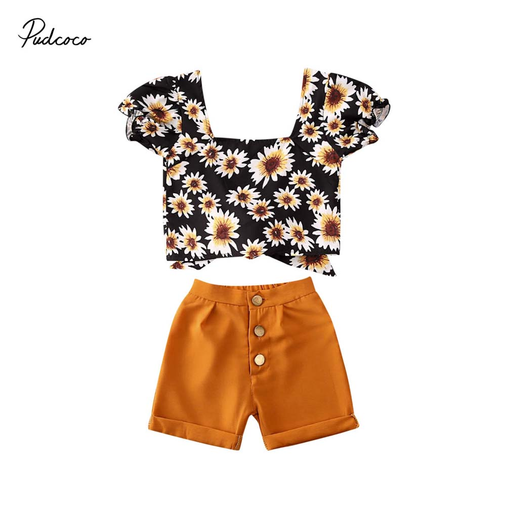 Children Kids Baby Girl Daisy Flowers Striped Tops+Bowknot Short 2Pcs Outfit Set