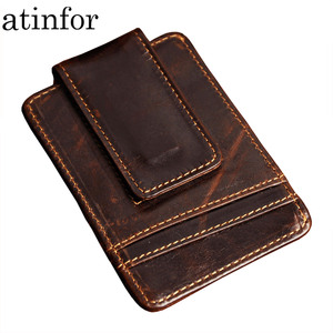 Vintage Genuine Leather Money Clip Front Pocket Clamp For Money Holders Magnet Magic Money Clips Wallet with Card ID Case(China)