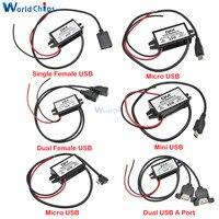 Módulo de fuente de alimentación de DC-DC para coche, adaptador USB macho y hembra de 12V a 5V, 3A, 15W, convertidor Buck de reducción, Mini Adaptador Micro USB