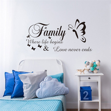 Creative Butterfly English 'Family' Wall stickers Home Bedroom Decoration Environmental Protection Waterproof Vinyl Wallpaper