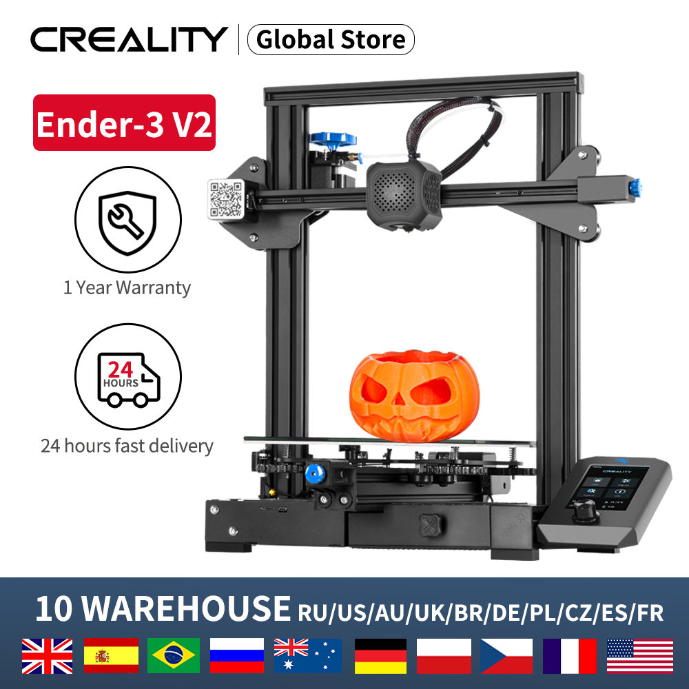 CREALITY 3D Newest  Ender-3 V2 Printer Kit 32 Bit Slilent Mianboard High Pricison New UI Display Screen With Resume Printing