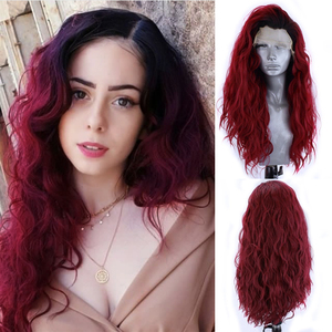Charisma Long Curly Wig Synthetic Lace Front Wig Heat Resistant Fiber Hair Ombre Red Wigs for Black Women Cosplay Wigs