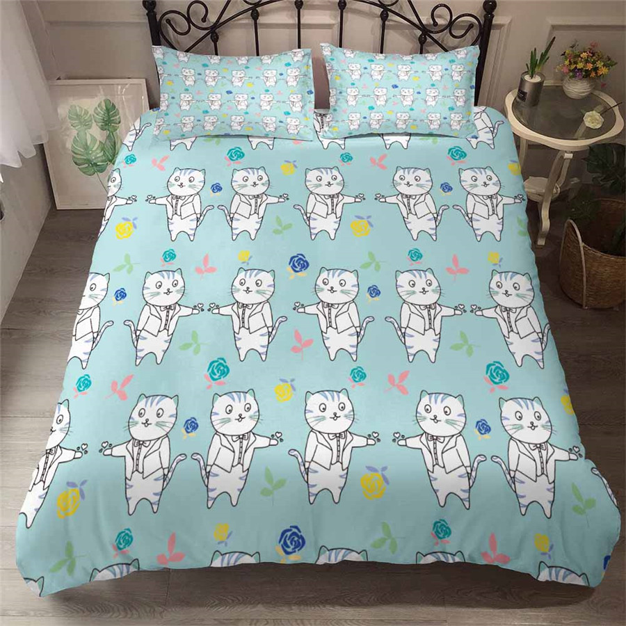 HELENGILI 3D Bedding Set Cartoon Cat Print Duvet Cover Set Bedcloth With Pillowcase Bed Set Home Textiles #YC-101