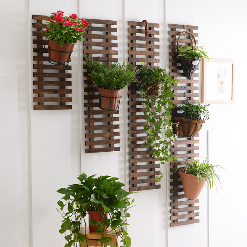 Anticorrosive Wood Living Room Wall Pergola Balcony Wall Hangers Iron Art Wall-Mounted Plant Stand Solid Wood Hanging Wall Pot H