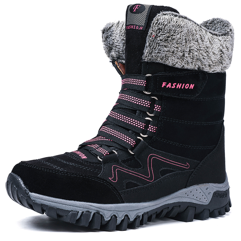 Boots Winter Shoes Wear-Resistant High-Top Warm Female Womens Fur Cotton Slip No Ankle