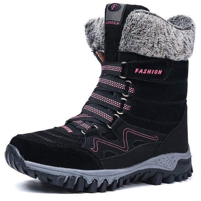 ฤดูหนาวรองเท้าผู้หญิงรองเท้าบู๊ตหิมะรองเท้าสตรีรองเท้าผ้าฝ้ายหญิงข้อเท้าสูงรองเท้าสวมใส่ลื่นBota feminina