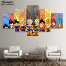 Canvas Prints Pictures 5 Pieces Dragon Ball Super Painting Home Decor Animated Cartoon Poster Living Room Wall Art Modular Frame(China)