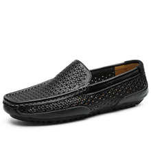 High Quality Leather Men Casual Shoes Male Summer Breathable Hard-Wearing Hollow Soft Bottom  leather shoes men