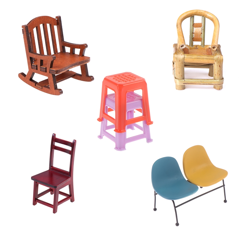 High Quality Handmade 1/12 Scale Dollhouse Miniature Stools Chairs Pretend Play Furniture Toys For Children Kids Birthday Gift