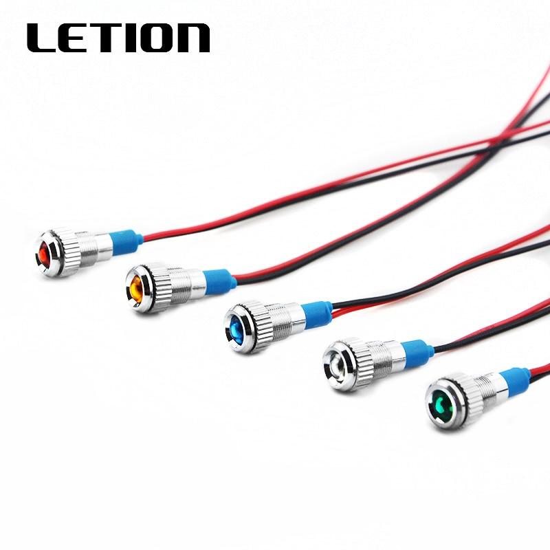 1PCS 8mm Metal Indicator Light LED Waterproof Signal Lamp 12V 24V 220v Spherical Indicator Lamp Red Yellow White Blue Green
