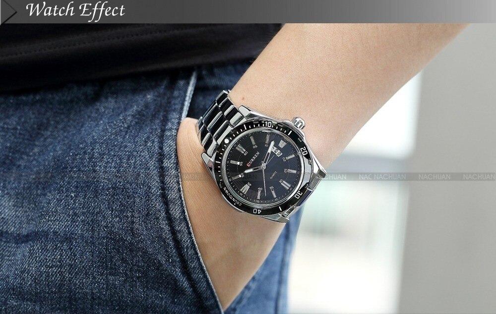 Для мужчин s часы Топ Элитный бренд CURREN 2018 Для мужчин часы с полностью стальным корпусом кварцевые часы аналог Водонепроницаемый спорт, арми... - 5