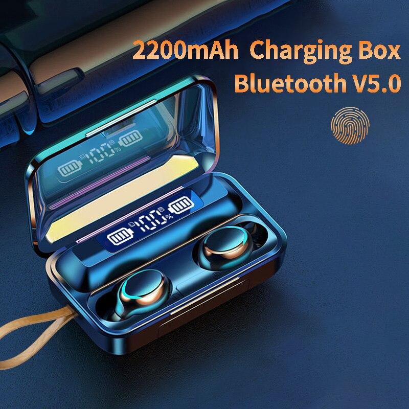 Oringinal F9-V5.0 Bluetooth 5.0 słuchawki TWS zestaw słuchawkowy z czytnikiem linii papilarnych radio HiFI słuchawki douszne słuchawki bezprzewodowe dla sportu