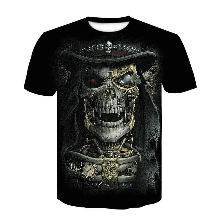 3D wydrukowano duch czaszka z horroru osobowość z krótkim rękawem 2020 lato harajuku z krótkim rękawem T-shirt mężczyźni i kobiety odzież uliczna krótki