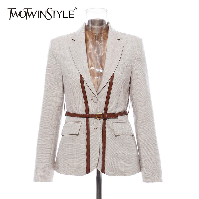 TWOTWINSTYLE Patchwork Strap Hit Color Blazers Women Notched Collar Long Sleeve England Style Suits Female Fashion Clothing 2019