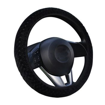 Universal Car Steering Wheel Covers Winter Plush Soft Warm Covers Car Interior Accessories comfortable feel image