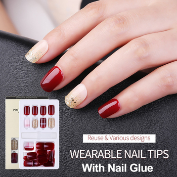 30PCS Women Detachable False Nail Artificial Tips Set Full Cover For Decoration Press On Nails Art Fake Extension Tips With Glue image