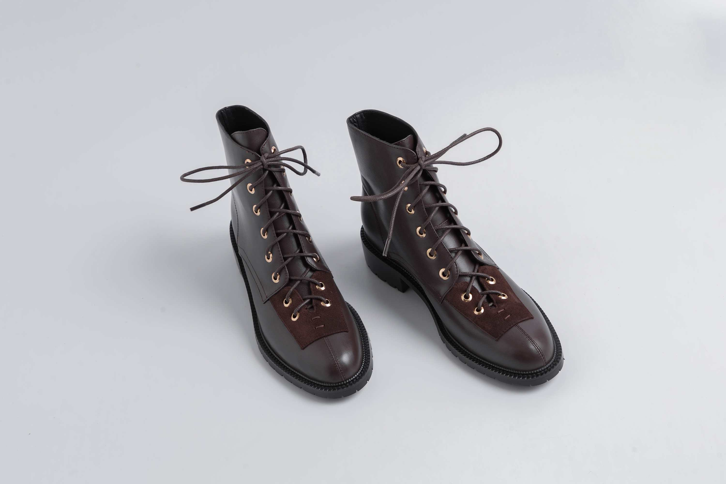 Image 4 - Lenkisen hot vintage gentle style genuine leather rivets lace up 