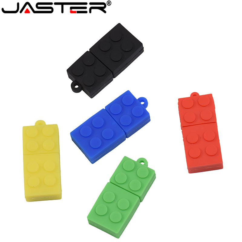 JASTER Hot Selling Creative USB 2.0 64GB 32GB 16GB 8GB 4GB Cartoon Children's Toy Building Blocks Real Capacity USB Flash Drive