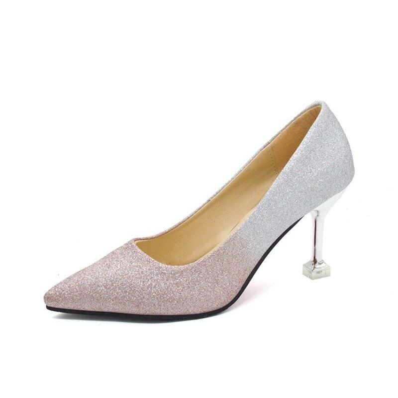 Ladies Elegant Sexy Concise Women Sequin Gradient Colour Fashion Pumps Pointed High Heels Stiletto Wedding Party Shoes K16-09